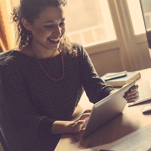 Woman looking at personal tax review