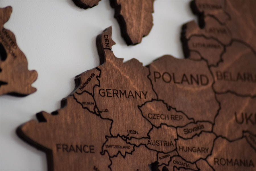 Wooden Map showing corner of UK and Europe