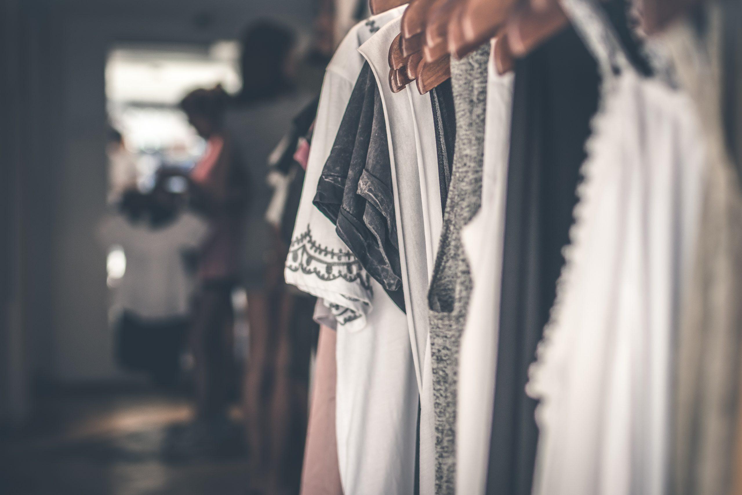 Clothes on a shop rail