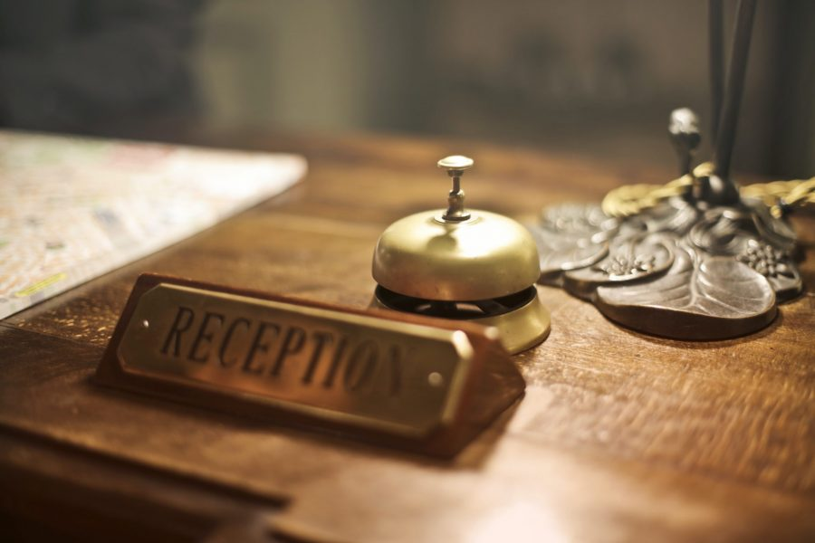 Reception desk with bell